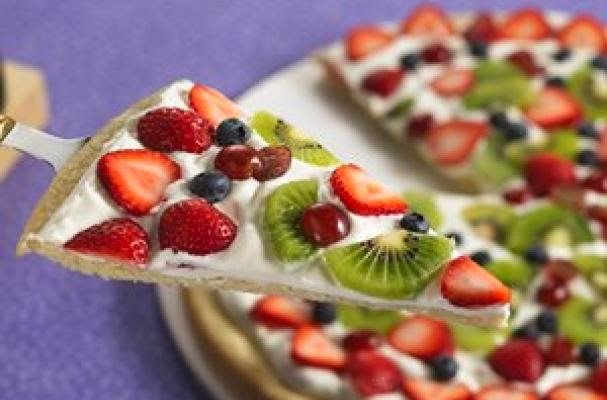 Chocolate Strawberry Kiwi Dessert Pizza